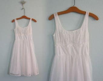 Beautiful 50s White Chiffon Nightgown by Shadowline - Vintage Chiffon Fit and Flare Night Gown - Vintage 1950s Nightgown XS S
