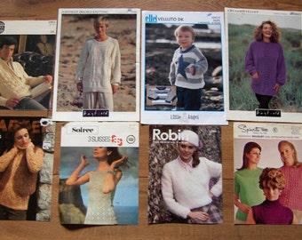 set of 8 vintage knitting patterns men women children