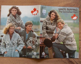 Vintage WHITE BUFFALO knitting patterns Cowichan sz 32-36-40-44-46/sm,med,lg