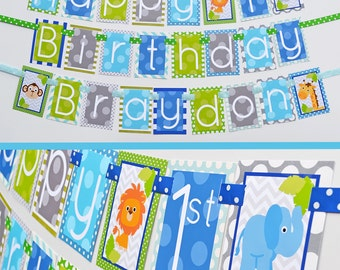 Blue and Green Jungle Birthday Party Banner Fully Assembled Decorations