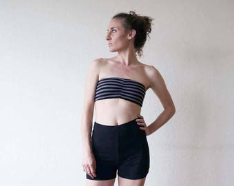 New for summer!! Bandeau top with net back. Bikini top - yoga clothes - yoga top - dance - fitness - active wear. Size SM and ML