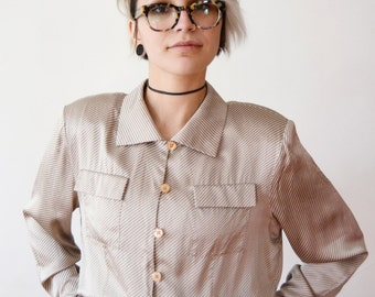 1980s does 1940s Silk Striped Blouse - M