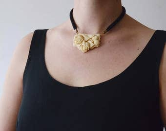 Vintage Carved Rose Necklace On Satin Cord