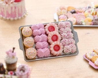 Assorted Pink-Themed Sweet Treats on Metal Baking Tray - 12th Scale Miniature Food