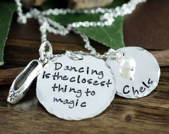 Dance Jewelry, Personalized Necklace, Hand Stamped Necklace, Gift for Dance Teacher, Dance Slipper Jewelry, Gift for Dancer, Gift for her