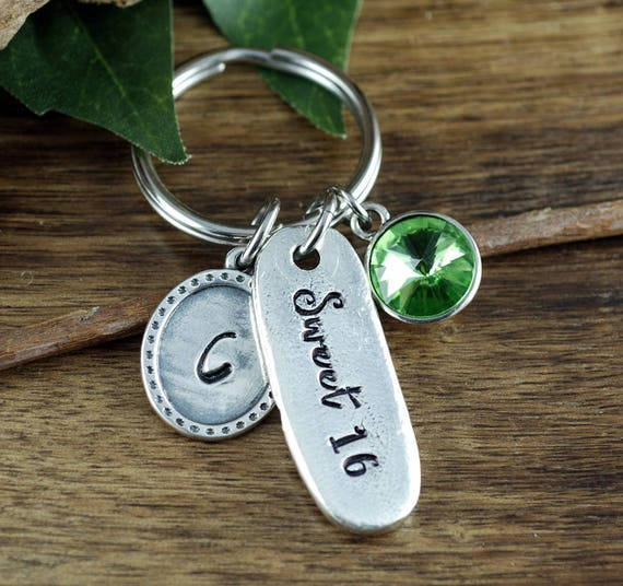 Sweet 16 Keychain, Sweet 16 Gifts, Keychain for Daughter, Custom Keychain, Sweet 16 Birthday, Personalized Sweet 16 Gift, Sweet Sixteen Gift