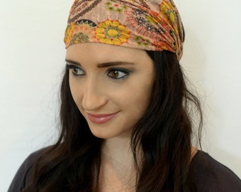 Wide Headband Red Mustard Avocado Turband Stretchy Silk Cotton Head Wrap Vibrant Paisley Head Wrap Yoga HeadBand Hair Wrap