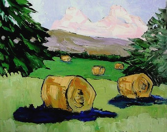Lynne French IMPRESSIONIST Plein Air LANDSCAPE California Hay Bales Painting 16x20 Art
