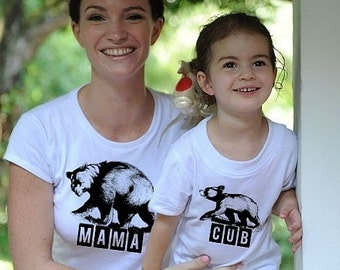 2 shirts- MAMA Bear and CUB mother shirt, child tshirt grizzly matching combo mom womens mommy me! son boy girl zoo 2t 3t 4t 5t xs S M L xl
