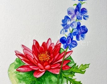 Water lily and Larkspur July birthday flower, original watercolor painting, birth month flower, July birthday gift