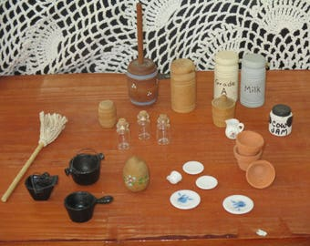 Over 20 Vintage Dollhouse Miniature Cast Iron Pots -Butter Churn-Glass Jars with Cork Lids-Milk Cans~ Country Kitchen Accessories  Vintage