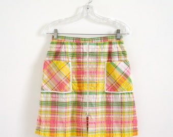"Vintage 1960s Womens Size XS-S Leon Levin Skort Tennis Golf Skirt Activewear / waist 26 length 19.5"" / Pastel Plaid Cotton Plisse"