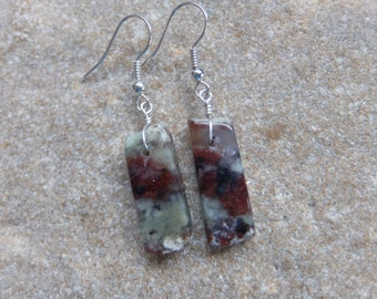 Chrysoprase Earrings - green, red brown  natural stone jewelry handmade in Australia with ethical sourced gem stones