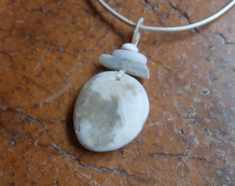 Kyanite, Quartz crystal, shell, pebble necklace - tribal jewelry -  ethical sourced & handmade in Australia