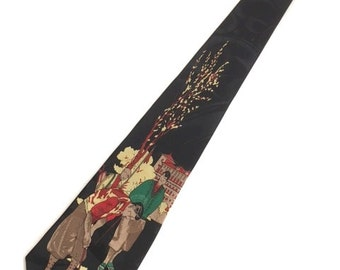 VINTAGE Black GOLFERS Necktie / 90s Golfing Tie By Cervine / Iridescent Design