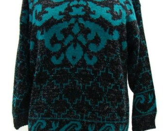 Vintage Teal and Black Sweater 80s Style Sweaters Retro Sweaters For Women Womens Vintage Sweaters Vintage Sweaters For Women