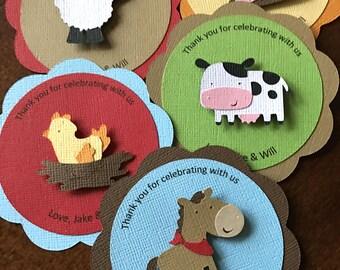 Barn Animal Favor Tags, Farm Animal Favor Tags, Barnyard Birthday, Farm Party Favor Tags, Farm 1st Birthday, Barnyard Favor Tags, Set of 12