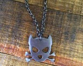 Dog Necklace/ Dog Charm /Outlaw Doggy Spike Metal Pendant on Gunmetal Chain/by WATTO Distinctive Metal Wear/Gift for Dog Lover/Dog Pendant