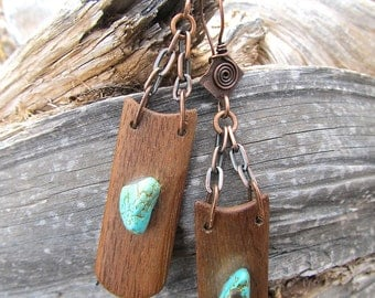 Rustic Turquoise and Teak Earrings w Antiqued Copper