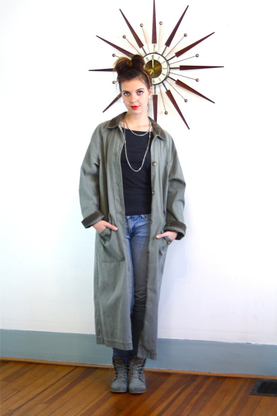 Vintage 80s L.L. Bean Trench Coat Canvas Oversized Duster Jacket Unisex Army Blue Green Cotton 1980s Women's Men's Super Long Boxy Overcoat
