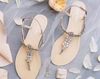 Silver Flower Crystal Sandals for Beach Wedding; Wedding Sandals for Outdoor Wedding Bella Belle Shoes Rhea
