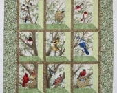 Quilted and Pieced Wall Hanging, Attic Window, Birds in Tree