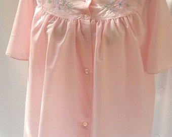 vintage bed jacket, pink bed jacket, embroidered jacket, plus size 18 lingerie, vintage nightwear, retro nightwear, vintage underwear
