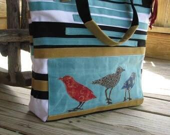 Bird Bag/Ready to Ship/ Tote/ Beach Bag/ School Bag/ travel bag/ purse/ Zipper Closure/ 4 Large pockets/Waxed and Cotton Canvas