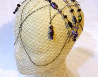 Purple Midnight Beaded Headpeice