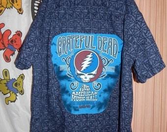 SALE Grateful Dead SYF Man Shirt XL Tall Button Down 13 pt Bolt Hippie Furthur Festival