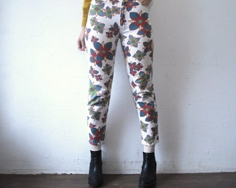 80s 90s skinny jeans. faded floral jeans. cigarette pants - xs, small