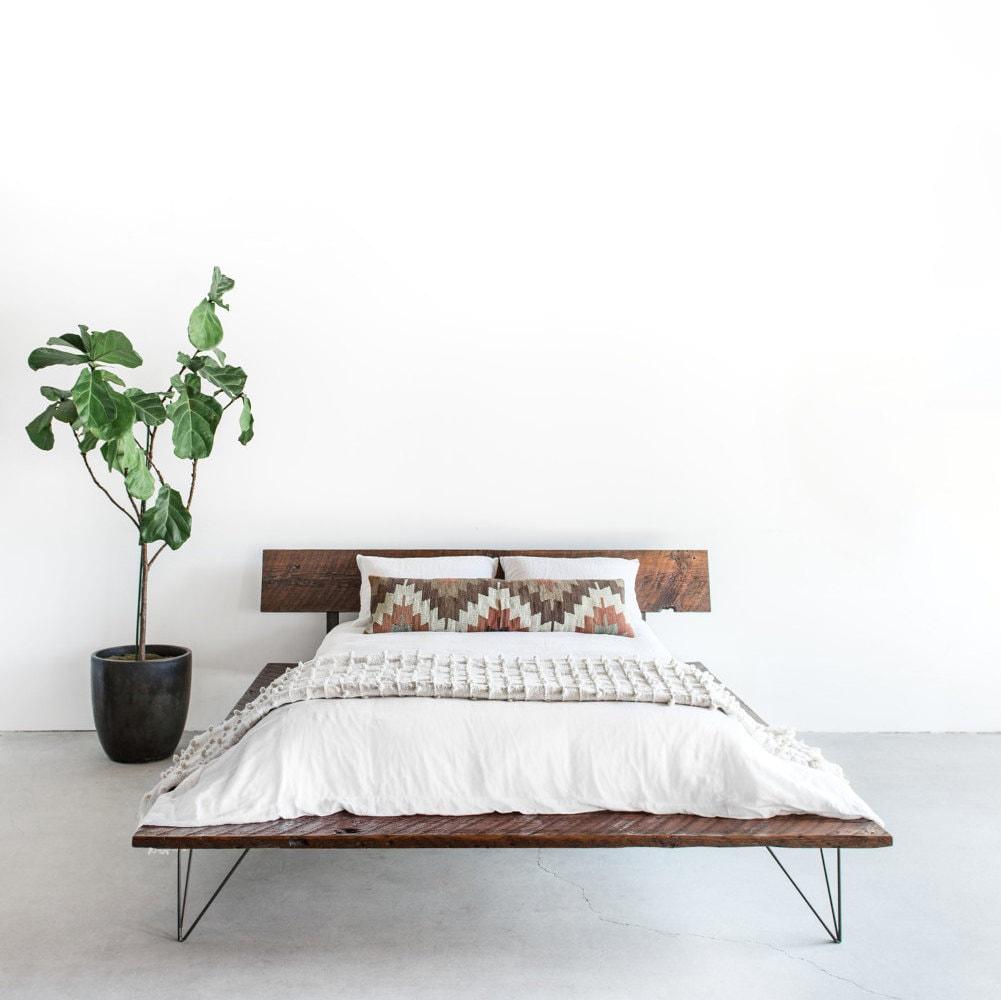 reclaimed wood platform bed frame handmade sustainably in. Black Bedroom Furniture Sets. Home Design Ideas