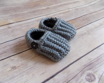 Baby Loafers, Crochet Baby Moccasins, Knit Baby Boy Shoes