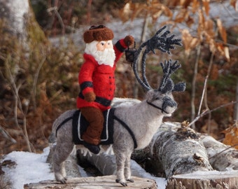 Needle Felted Reindeer and Hudson Bay inspired Santa Claus - Needle Felted Wool Father Christmas And Animal Soft Sculpture