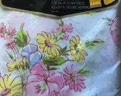 Pequot Vintage FULL FLAT Floral Sheet - New Old Stock - Reclaimed Bed Linens