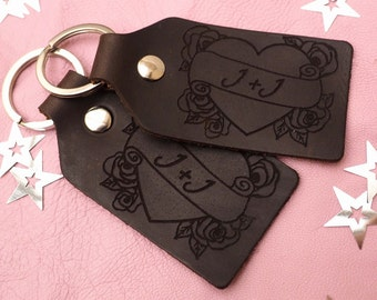 A pair of personalised leather keyfobs, tattoo, heart, keychain, Wedding gift, Anniversary Gift, Leather Anniversary, Gift for Him, Keyring