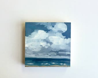 "Beach Day • original 4 x 4"" oil painting"