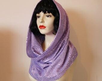 Pale purple lilac sequin snood hood / scarf GaGa disco festival