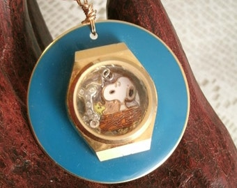 Snoopy and Woodstock Friendship Pendant Repurposed Jewelry Watch Crystal Aviva Snoopy Woodstock in nest floating bone with crystals