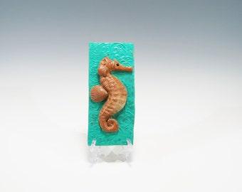 Hand Built Ceramic Seahorse Tile Decorative Ceramic Tile Seahorse Wall Hanging Pottery Seahorse Tile Ceramic Wall Hanging