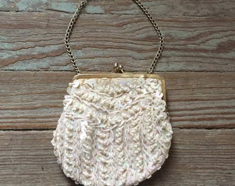 Vintage 1960s Pearlescent Beaded Evening Hand Bag Purse
