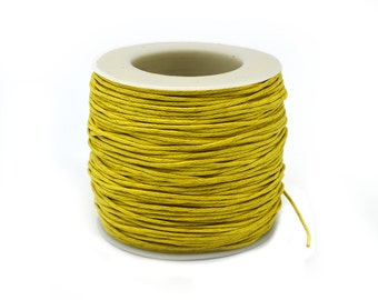 Yellow  Waxed Cotton Cord  1mm, 75 meter Spool, Macrame  Cord