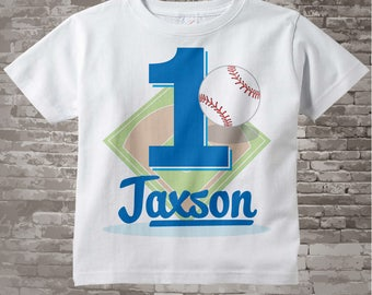 1st Birthday Shirt, Personalized Boy's First Birthday Baseball Theme Tee Shirt or Onesie 09022015i
