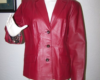 Vintage 80s 90s Red Genuine Leather Jacket Size Medium Terry Lewis Classic Luxuries Unisex Fall Winter Outerwear Chic Classy Designer Style