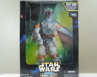 "Boba Fett Star Wars Doll, Action Figure - 12"" Electronic Star Wars Toy, 90s Vintage Star Wars Figure in Original Box, Gift for Dad, For Kids"