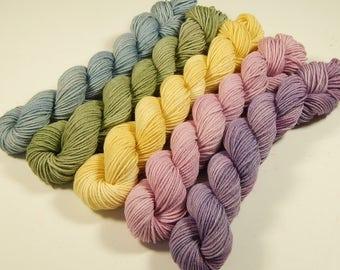 FREE SHIPPING - Sock Yarn Mini Skein Set - Hand Dyed Yarn - Sock Weight Superwash Merino Wool Nylon Yarn - Spring Pastels - DIY Gift