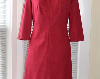 Vintage 60s Dress - Cerise Wool Shift - Mod Day Dress - m/l