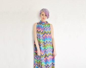 1970 zig zag print maxi dress . retro boho hostess floor length tent dress .small.medium.large .sale