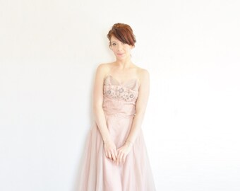 1950 pink rhinestone prom gown . beaded mid century modern dress .small .sale