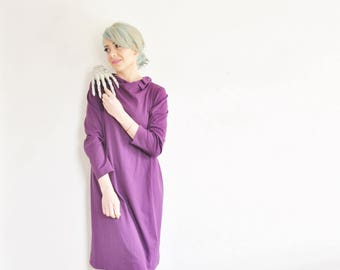1960 royal purple shift dress . mod bow tie shoulder . long sleeve frock .medium